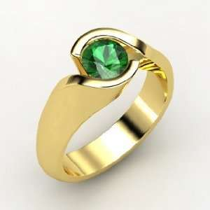 Enfold Ring, Round Emerald 14K Yellow Gold Ring Jewelry