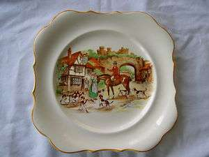 ART DECO ENGLISH WARE PLATE OF VILLAGE HUNTING SCENE BY L & SONS LTD