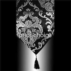 LUXUARY BLACK SILVER DAMASK VELVET TABLE RUNNER CLOTH