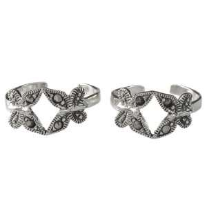 Handcrafted Sterling Silver Marcasite Gemstone Toe Rings