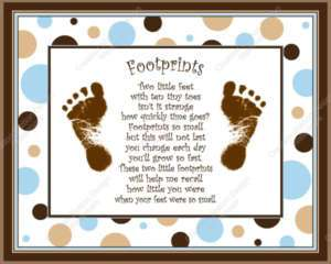 Blue & Brown Dots Babys Footprints with Poem