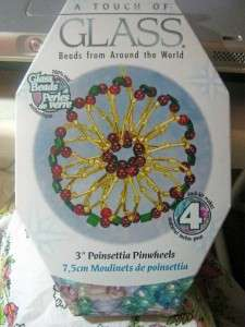 Touch of Glass  Poinsettia Pinwheels Beaded Ornament Kit  Makes 4