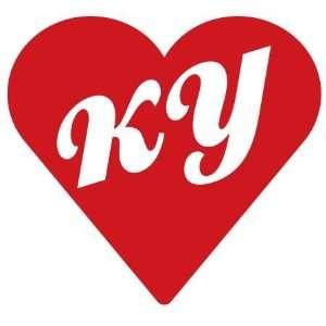 Kentucky State Abbreviation KY Heart Decal Sticker
