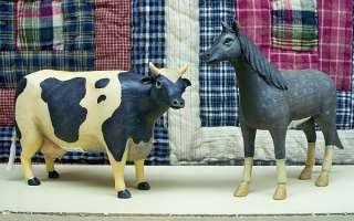 PRIMITIVE RESIN FARM ANIMALS COW, HORSE, PIG OR SHEEP