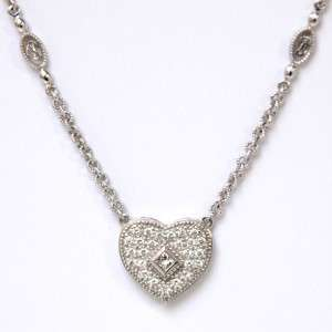 PHILIPPE CHARRIOL 18K White Gold Diamond Heart Pendant & Necklace
