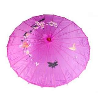 1x Purple Oriental Parasol Umbrella Cloth Bamboo Wood