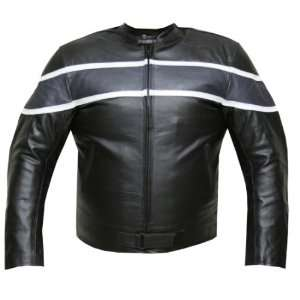 MENS BAND ARMOR MOTORCYCLE LEATHER JACKET Gray 48 XL
