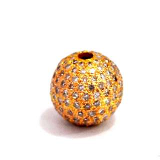 WHITE DIAMOND PAVE 18K SOLID YELLOW GOLD BEAD BALL FINE FINDING