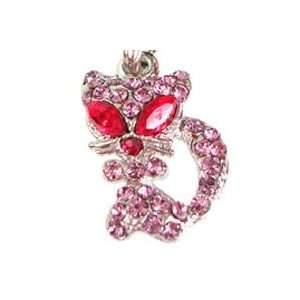 Cute Red Eye Cat Pink Crystal Cell Phone Charm Strap