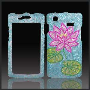 Lotus Flower on Blue Cristalina crystal bling case cover