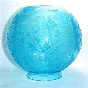 Blue Floral Etched Glass Gas Light 4 X 8 in Lamp Shade Gone with the