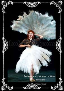 60 XL Large double layer White Ostrich Feather Fan ++