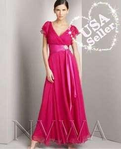 NVWA P36 Hot Pink Chiffon Long Ball Bridal Gown Bridesmaid Wedding