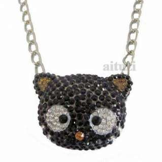 black crystal Chain Necklace Xmas gift best quality P16