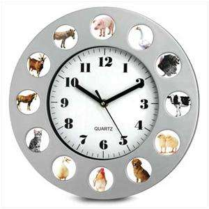 Country Farm/BARNYARD ANIMAL Sounds Round WALL CLOCK~Horse, Cat, Dog