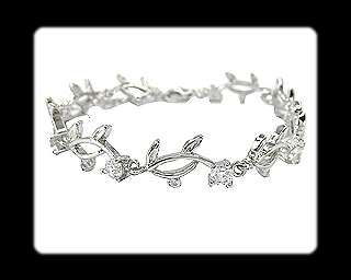 Fashion Jewelry Xmas Gift Clear Fine Topaz White Gold GP Tennis