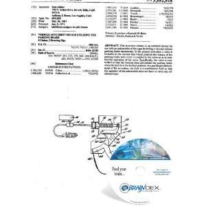 NEW Patent CD for VEHICLE ANTI THEFT DEVICE UTILIZING THE