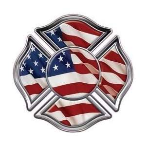 Fire Department Maltese Iron Cross with American Flag   2