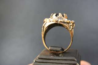 TURKISH TRADITIONAL BLACK ONIX STONE GOLD COLOR RING l