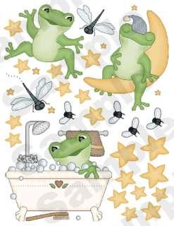 FROG FROGGY DRAGONFLY BUGS STARS MOON NURSERY BABY WALL BORDER