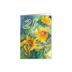 Happy 21st Birthday   Key and sunflowers Card: Toys & Games