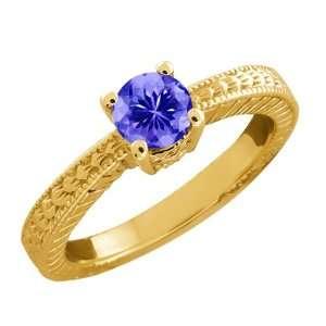 0.45 Ct Round Purple Amethyst 18k Yellow Gold Ring