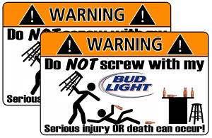 Funny Bud Light Beer Warning Sticker Decal Drink bottle