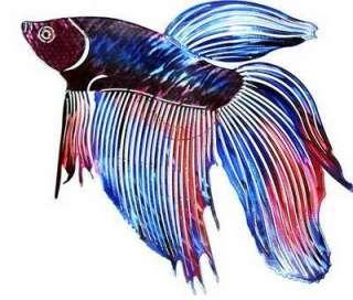 BETA FISH METAL WALL ART Tropical Ocean Sea Decor Beach Decorations