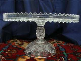 EAPG ANTIQUE PEDESTAL CAKE PLATE STAND SALVER WELL SAWTOOTH DIAMONDS