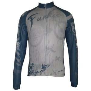 Bike Cycling Long Sleeve Fleece Jersey Blue & Gray Bicycle