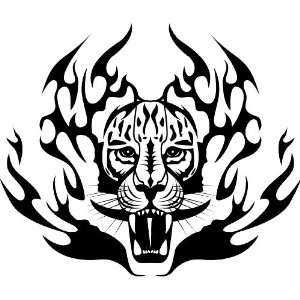 car auto vehicle hood door glass decal graphic vinyl art sticker Tiger