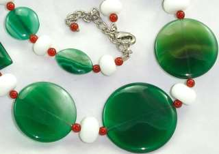 Charming 100% Natural Green Agate Carnelian Gemstone Beads Necklace