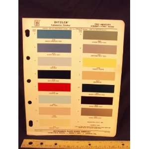 1962 MERCURY Montery, Comet, & Meteor Paint Colors Chip
