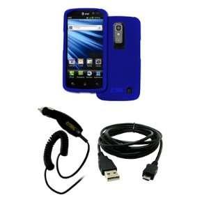 EMPIRE LG Nitro HD Rubberized Hard Case Cover (Blue) + Car