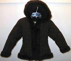 Girls Big Chill Brown Faux Fur Hooded Parka Winter Coat Jacket Sz