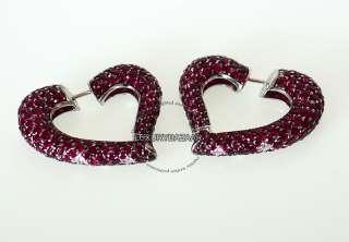 de Grisogono 18K White Gold Diamond & Ruby Heart Earrings