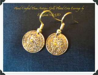 Antique Gold Coins Gold Plated Earrings
