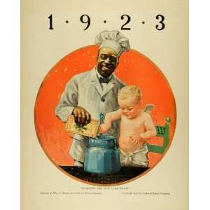 1923 Ad Cream of Wheat Chef Rasmus Black Americana New Year Baby
