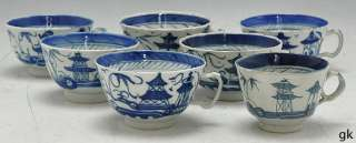Great Lot of 7 Antique Chinese Tea Cups Blue & White Canton Late 1700