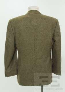 Ermenegildo Zegna Mens Olive Green & Brown Cashmere Two Button Blazer