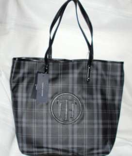 TOMMY HILFIGER womens purse TOTE Handbag bag black gray