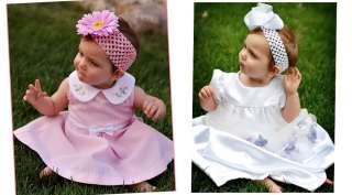Girl Baby Crystal Daisy Flower Hair Clip & 1.5 crochet headbands Gwn