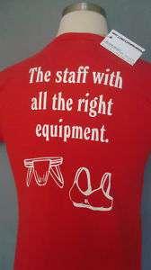 VINTAGE Mens Medium Red MUSCLES Funny T Shirt Jock Strap w/ FREE