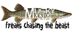Musky Maniac / Muskie Maniac Bumper Sticker   Decal   Free Fast
