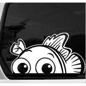 NEMO (FISH) PEEKING   WAVING from Car   6.5 WHITE Vinyl STICKER