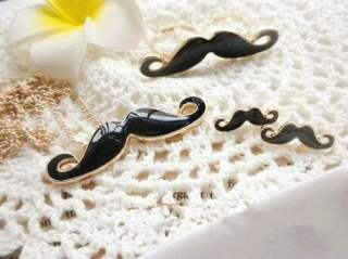 Fashion Moustache Handlebar Mustache Cosplay Set Necklace+Double Ring
