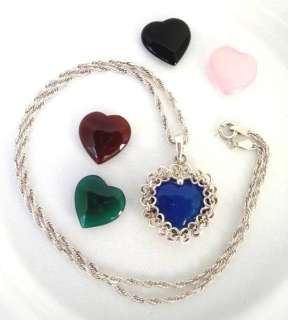 Sweet Sterling Silver Heart Locket Gemstone Necklace