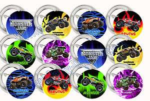 Monster JAM Monster Trucks Assorted 2 Large Buttons Pins Party Favors