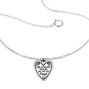 my friend Heart Charm Bracelet 7 with 2 extension chain, Gift for
