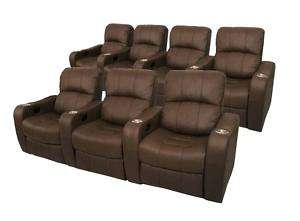 NEWPORT Home Theater Seating 7 Brown Recliner Chairs